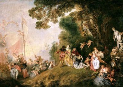 Antoine Watteau, Pèlerinage à l'île de Cythère, omstreeks 1717, olieverf op doek, 130,7 x 193 cm, Stiftung Preußische Schlösser und Gärten Berlin-Brandenburg, Berlijn, Schloss Charlottenburg